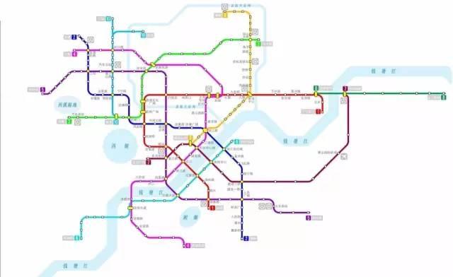 9号线将来会于杭州地铁1号线,2号线,3号线,4号线以及7号线设置换乘站图片