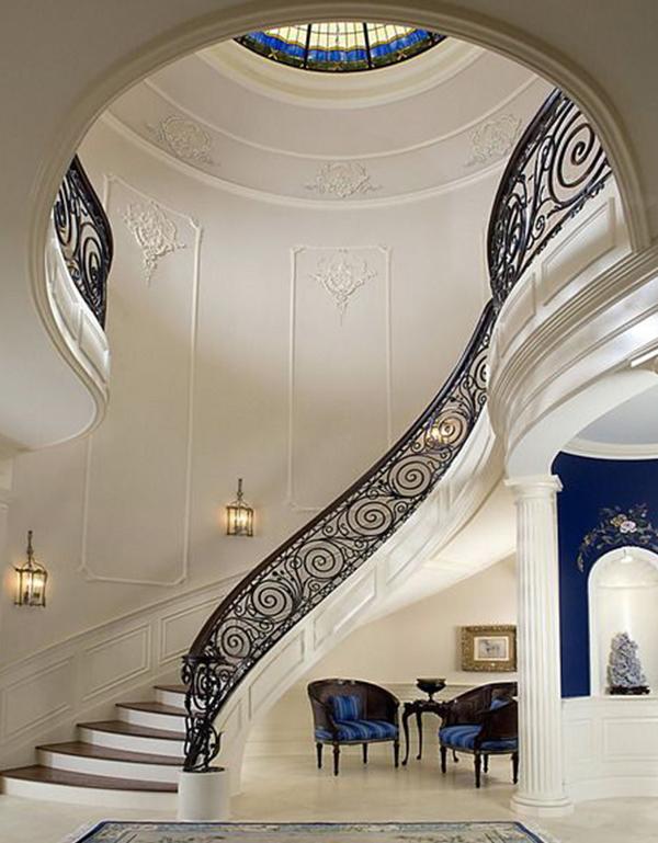 欧式旋转楼梯图片 别墅