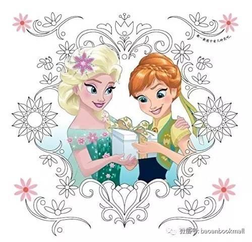 爱莎公主素描画-魔法花园的花颜色