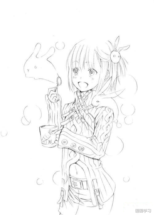 如何学素描——漫画素描:二次元美少女!