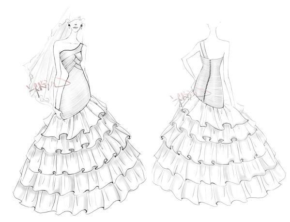 应尽量避免婚纱下身裙摆过于蓬松,造成头轻脚重而凸显身材短小的缺点.