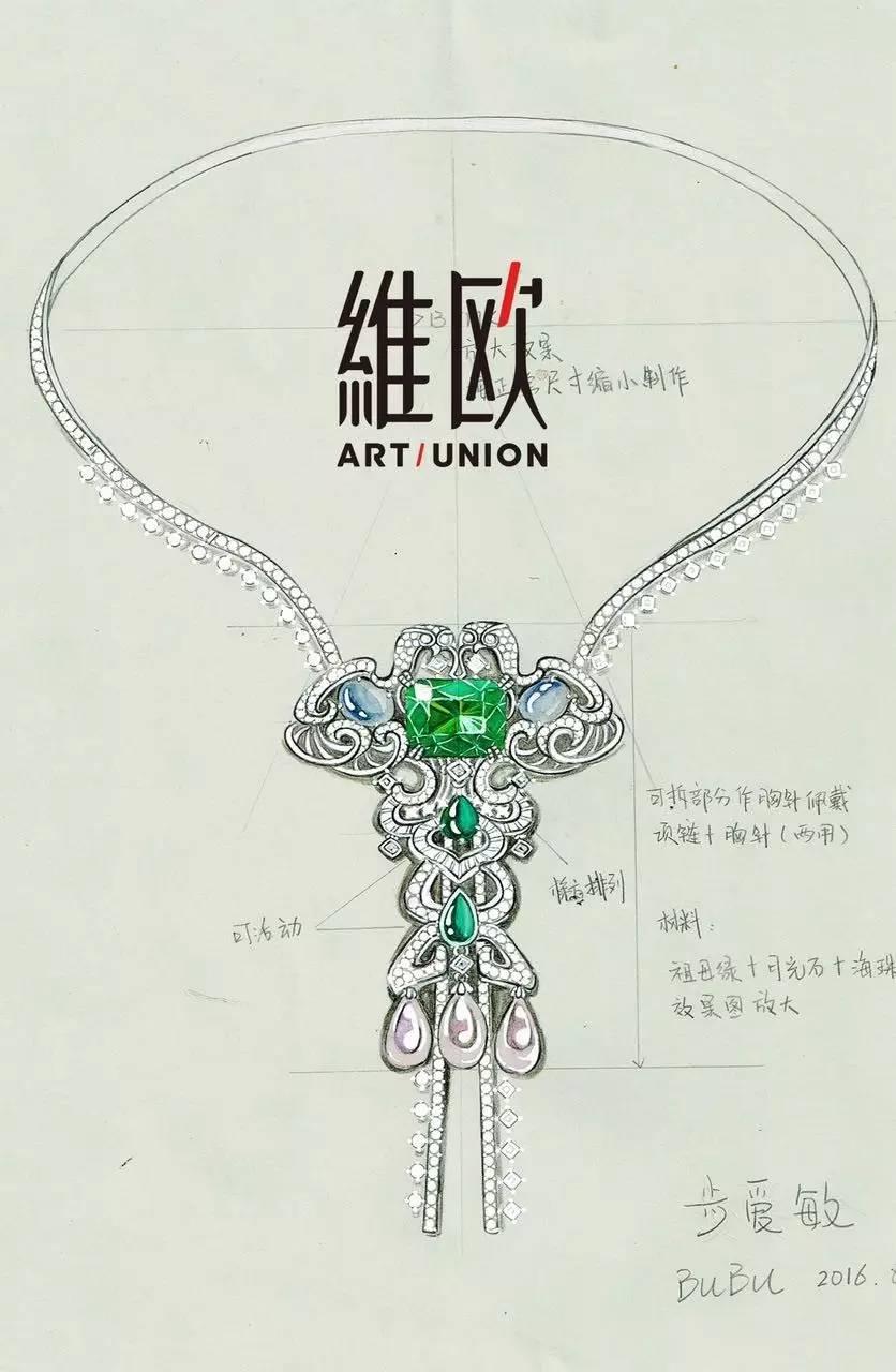 彩铅手绘现代汉朝首饰