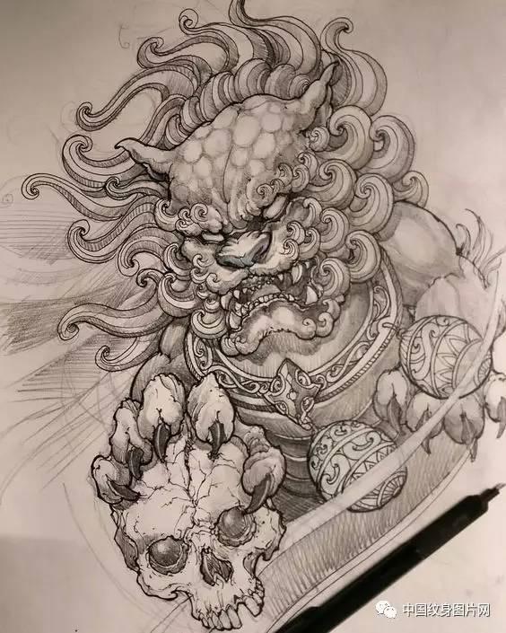 纹身素材:唐狮线稿