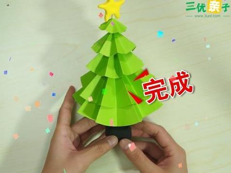 圣诞节手工特辑:简单圣诞树的折纸方法丨育儿大师