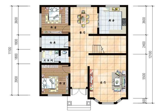 楼中楼结构复式二层小别墅设计图