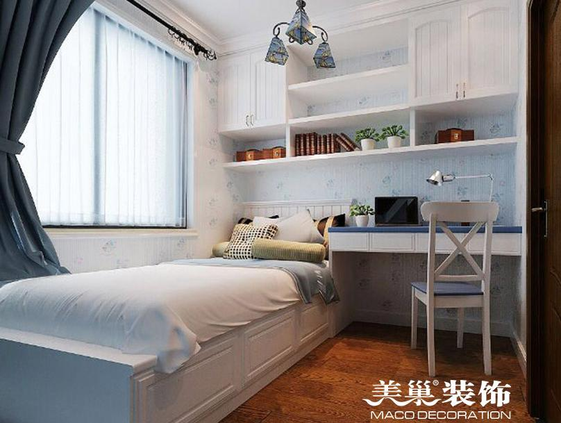 海珀兰轩89平两室装修效果图-儿童房榻榻米与书架图片