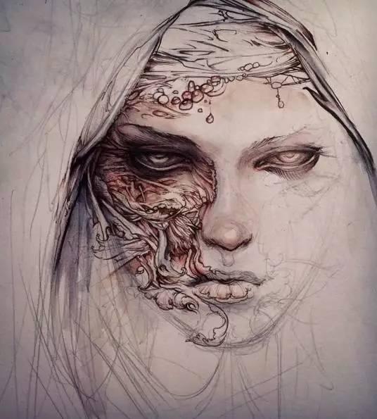 手绘线稿,超写实主义作品,喜欢吗?