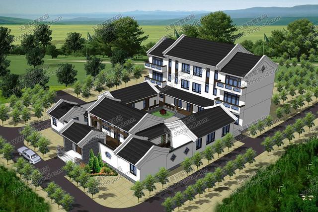 农村自建三层四合院,27x10.5米,含全套平面图!图片