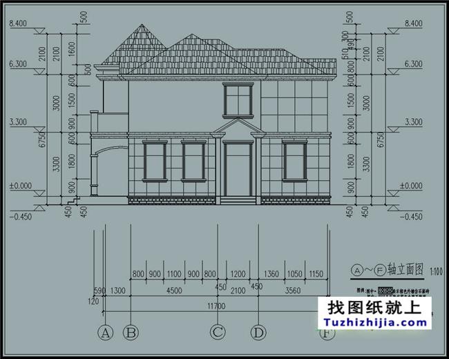 欧式实用农村二层别墅cad图纸带外观图