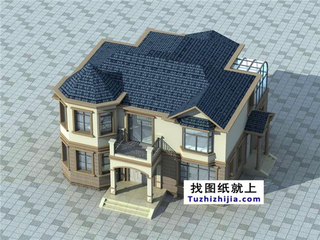 欧式实用图纸别墅二层CAD外观带农村图cad英寸何用如画图图片