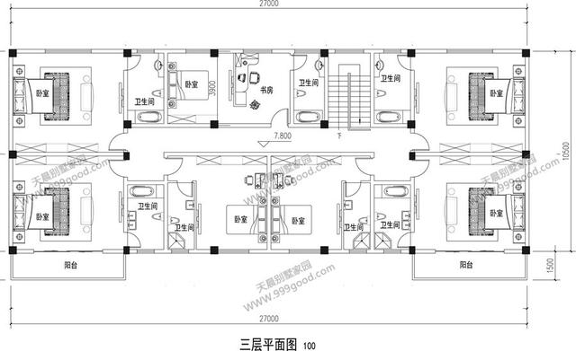 农村自建三层四合院,27X10.5米,含全套平面图