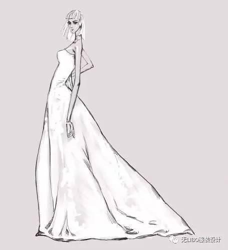 用铅笔画的婚纱图片