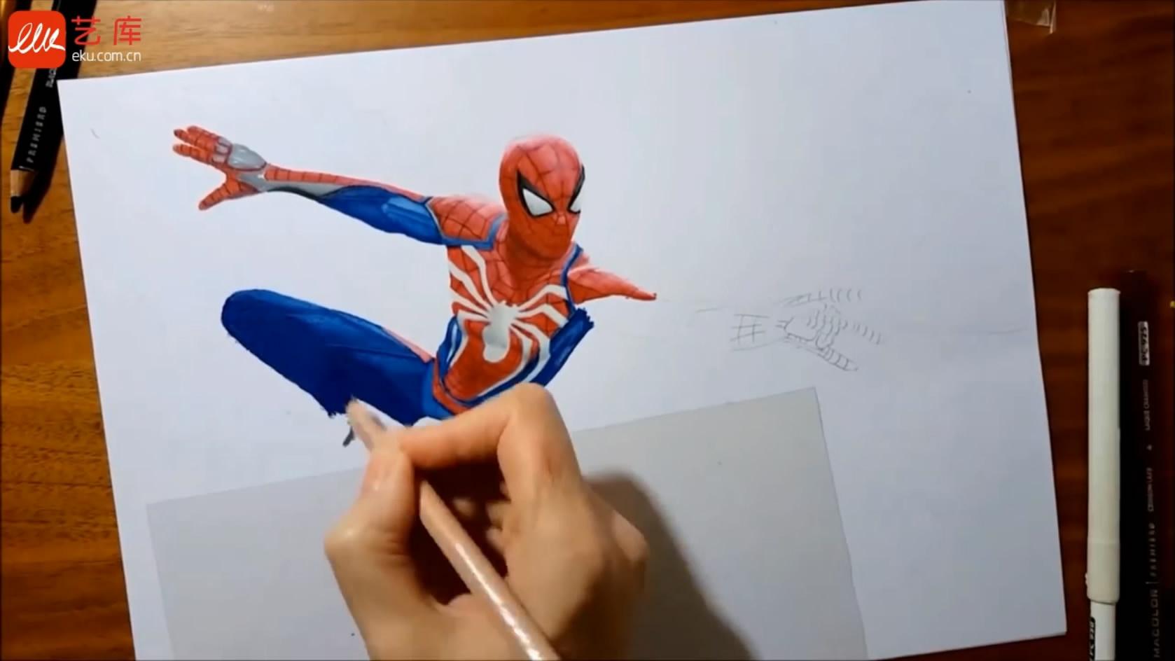 艺库视频 - 彩铅手绘作品_蜘蛛侠