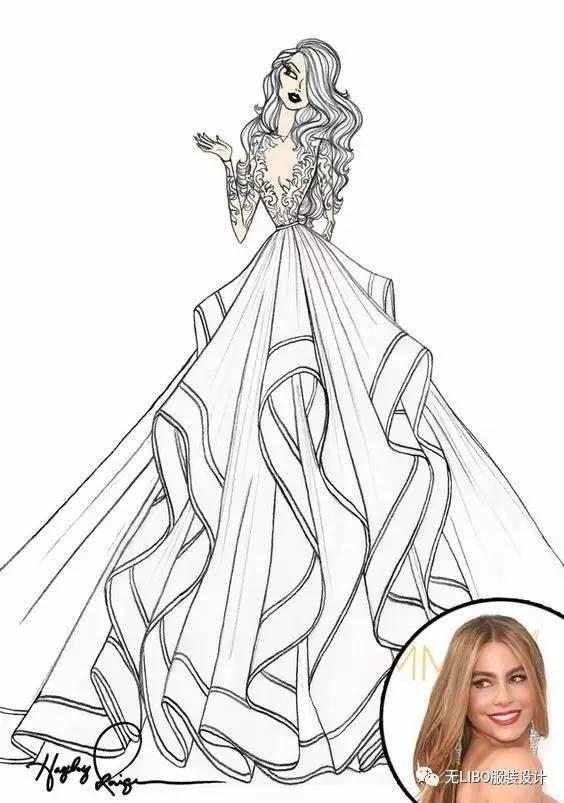 此款婚纱非常简洁,依身体曲线贴身剪裁的窄摆合身设计,不用衬裙.图片