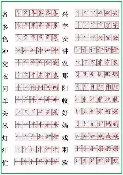小学 生字 笔顺表 辅导孩子必不可少