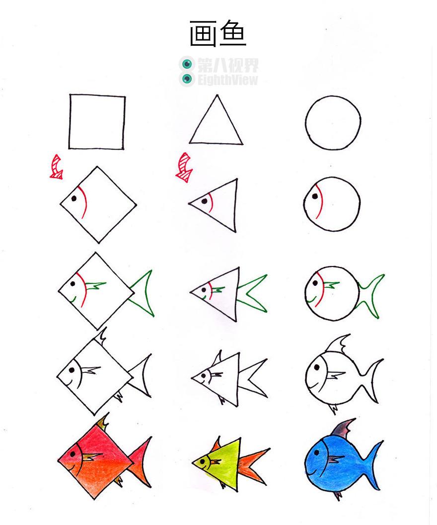 从方形,圆形,三角形画出任何一种动物图片