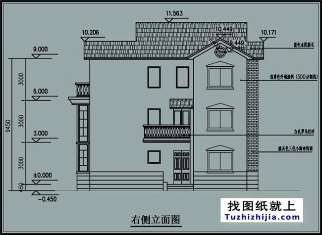 三层自建别墅施工图纸带车库