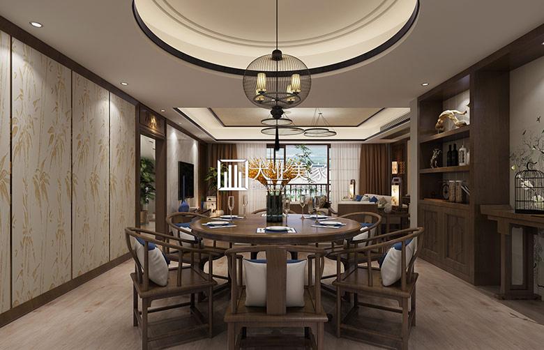江湾山语城顶复新中式风格餐厅装修效果图图片