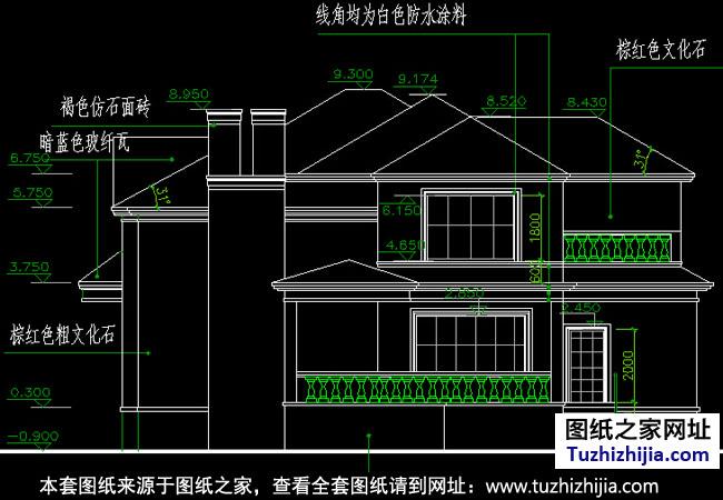 欧式二层小别墅全套建筑设计图纸 外观效果图