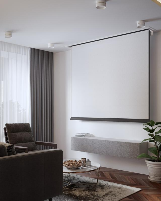 小客厅甚到容不下电视柜,因此设计师改用了投影仪,背景墙条做了壹个图片