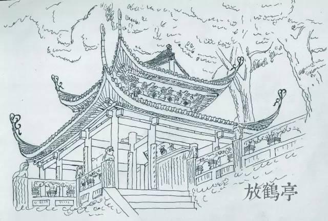 简单亭子手绘线稿