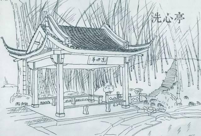 公园亭子三视图手绘