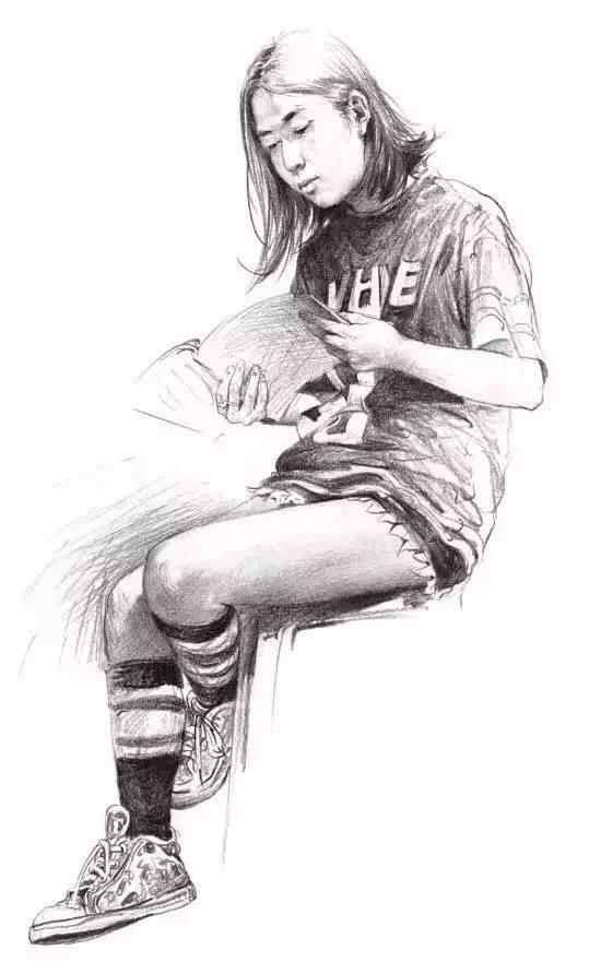 黑白铅笔手绘背影插画