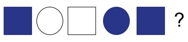 其要求让小朋友们根据题目中的已知模式,去推导出下一个图形的颜色和图片