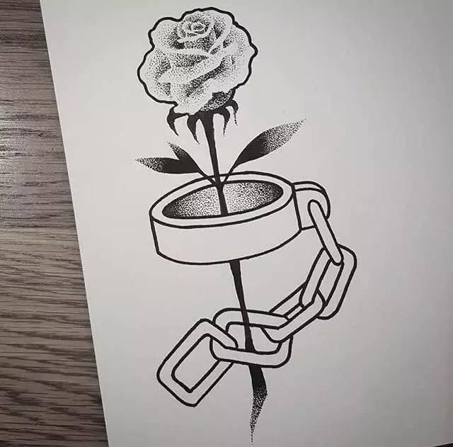 纹身素材 | 韩国纹身师najin 暗黑系黑灰纹身素材