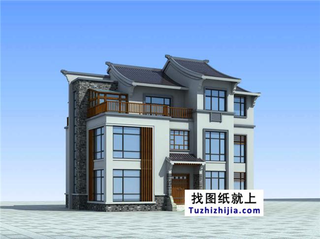 三层徽派自建别墅设计效果图及施工图纸