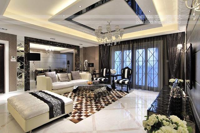 后现代奢华感十足的黑白灰丨青岛装饰140平时
