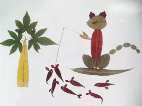树叶拼贴画手工制作大全 送给家长孩子
