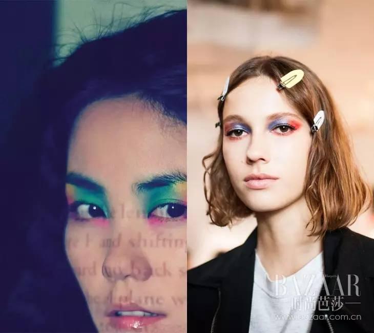 彩虹色眼妆图片
