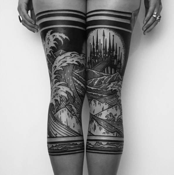 满背城堡纹身图案