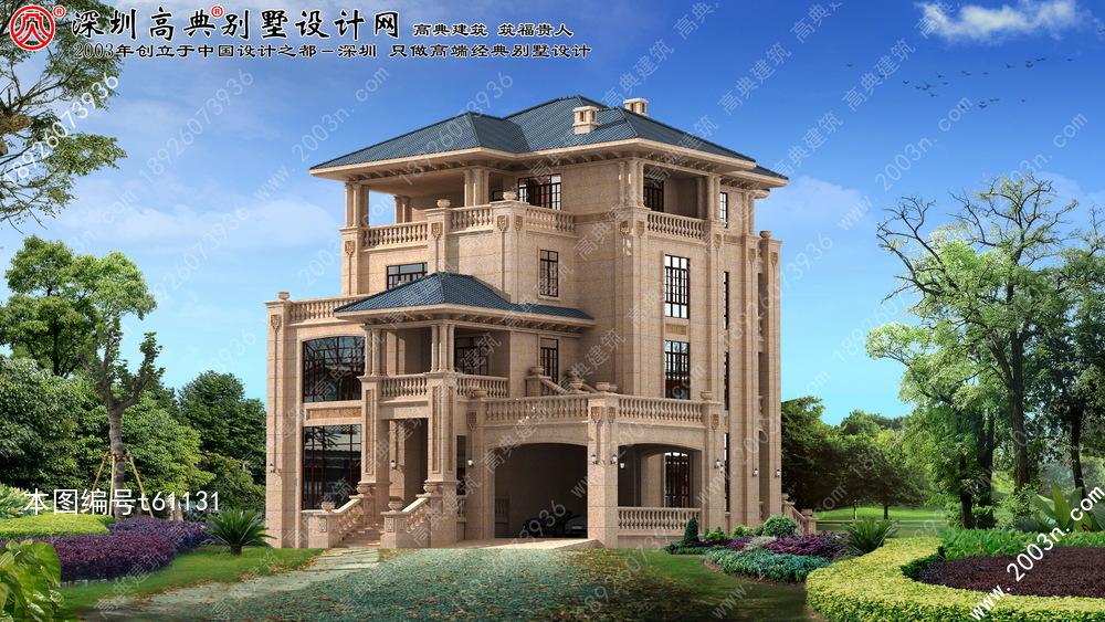 欧式石材别墅建筑设计图首层268平方米图片