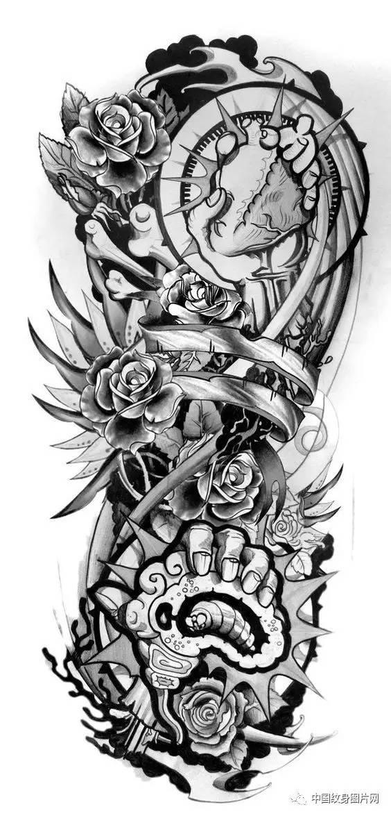 纹身素材:欧美 花臂线稿