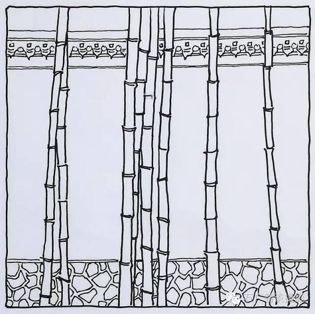 竹子俯视手绘图