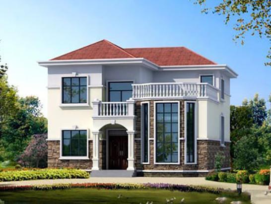 求农村两层复式楼房外观简约的图片 最好有设计图