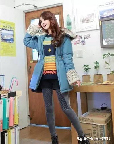 矮个子学生显瘦紧身搭配,韩版女生+棉服裤不女生广东冬装图片