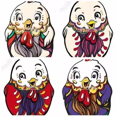 鸡年元宵节手绘插画