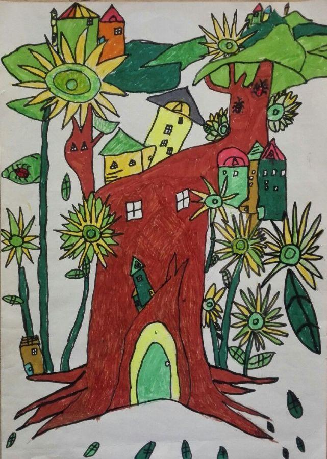 二年级王艺涵同学的作品《绿色家园》   二年级薛名烜同学的作品《鸟》   二年级张梦怡同学的作品《圣诞快乐》   二年级蔡鑫博同学的作品《城堡》   二年级付允诺同学的作品《我的梦想》   一年级栗盖楠同学的作品《花朵》