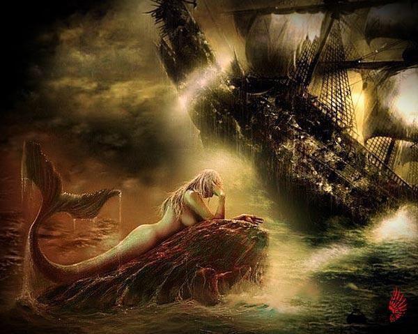 """从这时起,关于""""海妖""""亦或是""""美人鱼""""的故事的创作   多从悲剧的角度出发   安徒生同学正是以""""塞壬传说""""为原型创作了""""美人鱼的故事""""   后来就又有了一段美丽的神话故事""""塞壬传说""""   故事讲的是""""塞壬""""是一个人首鱼身的海妖,没事专门在海上唱歌,图片"""