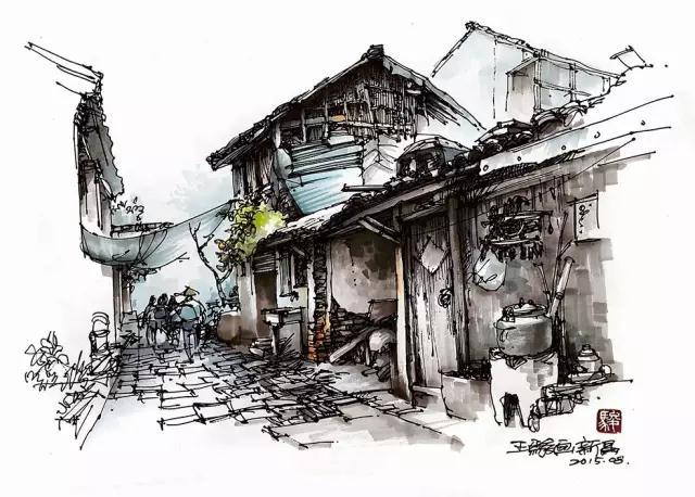 钢笔手绘北京建筑