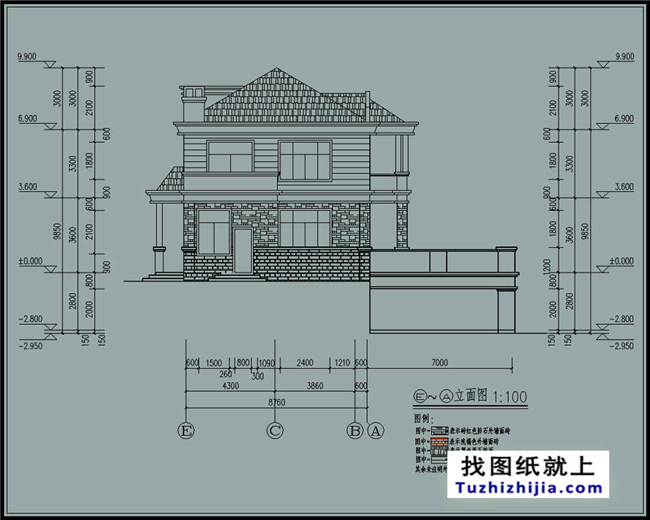 带地下室自建别墅设计的cad设计图纸及外观设计