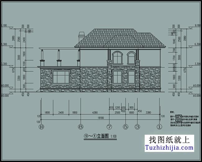 最新欧式自建二层别墅cad设计图纸带外观图