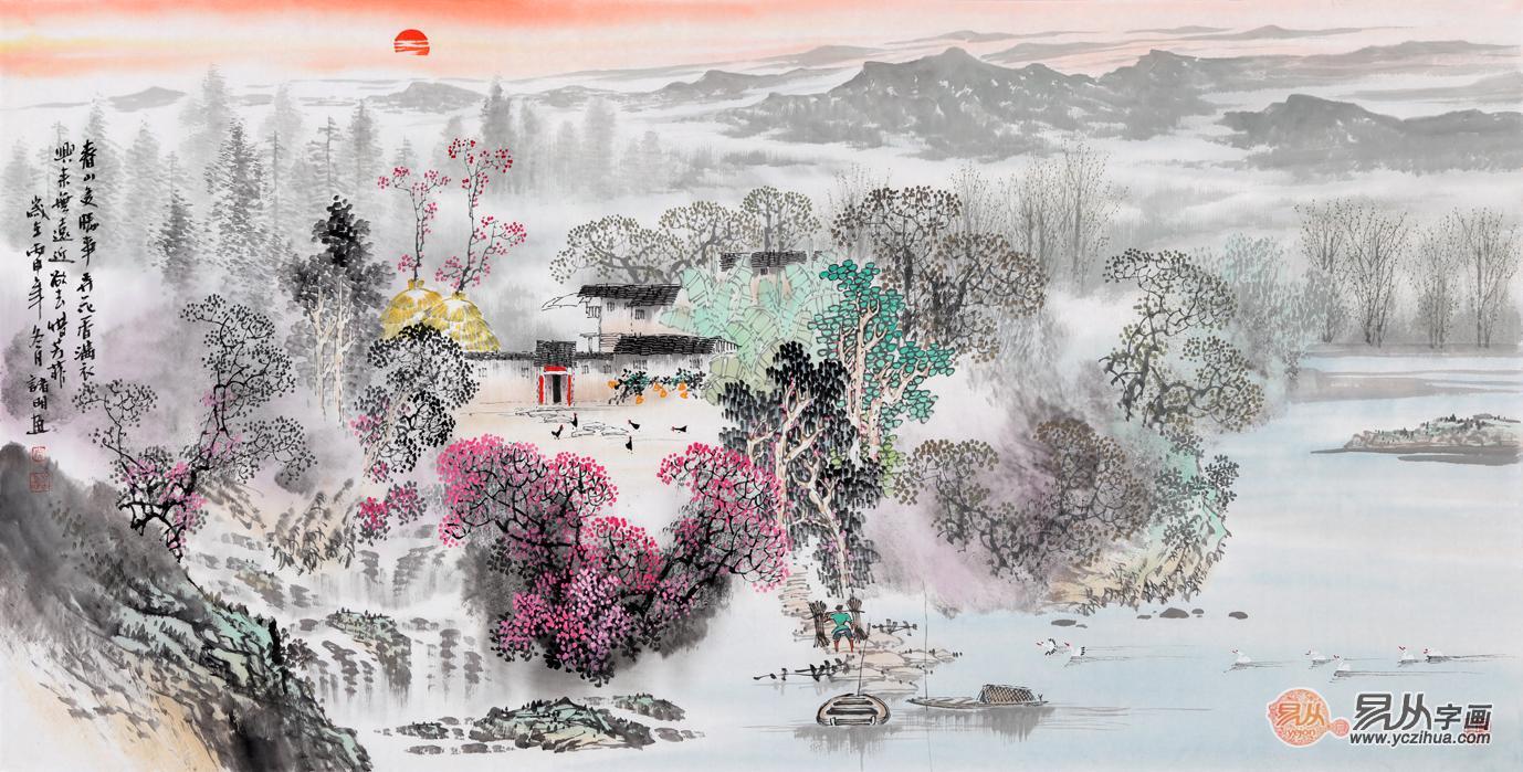 画家诸明 江南风景山水画手绘真迹欣赏