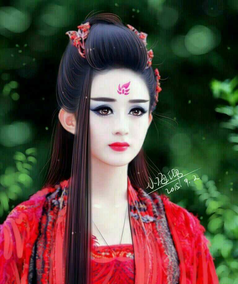 女星古装手绘图对比,郑爽傻二姐,娜扎女神美极了