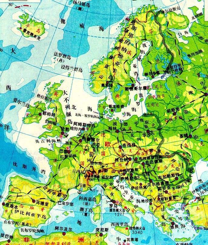欧洲地形图手绘图片