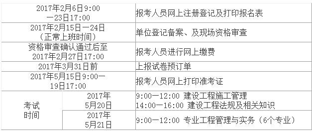 江西2017二级建造师报名时间 2月6日