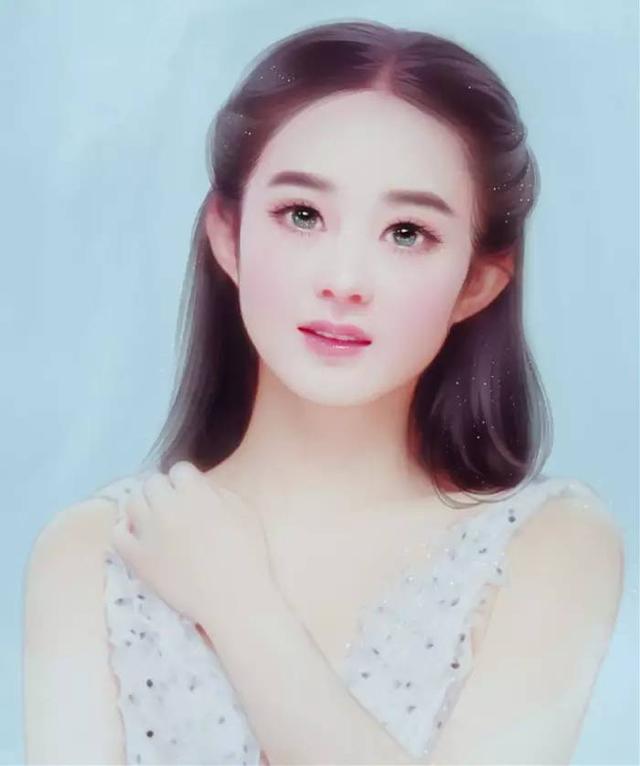 赵丽颖最美手绘图面若桃花惹人怜,侧颜美成仙